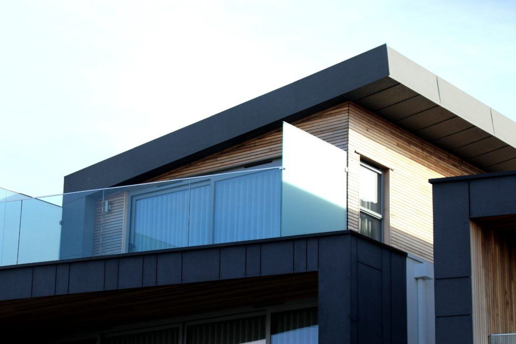 modern house with metal roof